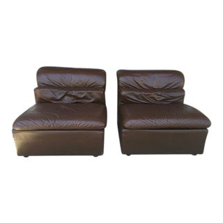 Italian Brown Leather Chairs - Pair For Sale