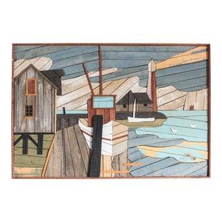 1970's Harbor Scene Cedar Slat Wood Lath Art Signed Degroot for Austin Productions For Sale