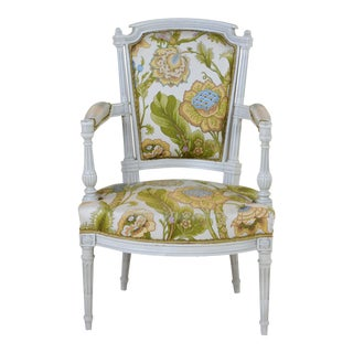 Louis XVI Style Side Armchair With Large Graphic Floral Print White Background For Sale