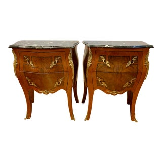 French Louis XV Marble Top and Bronze Ormolu Chests Nightstands For Sale