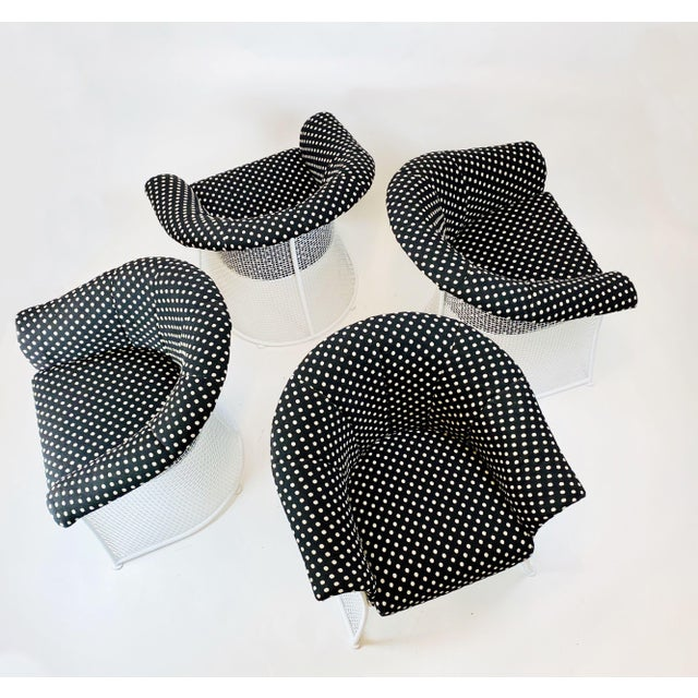 Rare 1950s Russell Woodard Black and White Polka Dot Patio Wrought Iron Set For Sale - Image 13 of 13