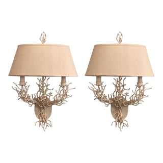 Palm Beach Metal Coral Wall Light Sconces - a Pair For Sale