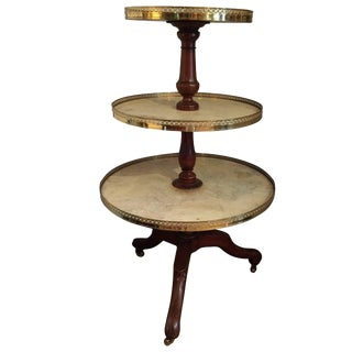 Elegant Three-Tier Walnut, Marble and Brass Circular Server For Sale