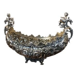 Beautiful Gondola Center Piece - Cherubs & Dragons -Hand Hammered Silver For Sale