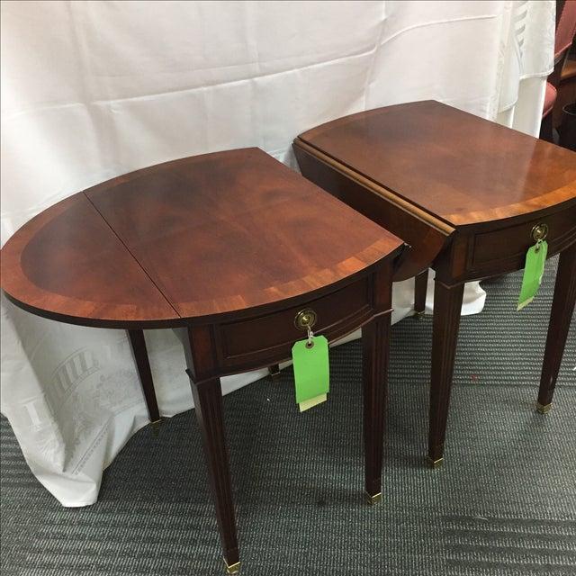 Baker Drop Leaf Side Tables - Pair For Sale - Image 5 of 8
