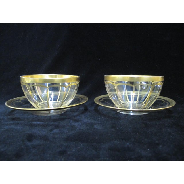 Hollywood Regency Vintage Mid Century Gold Gilt Glass Cream Soup Bowl & Saucer- 8 Pieces For Sale - Image 3 of 8