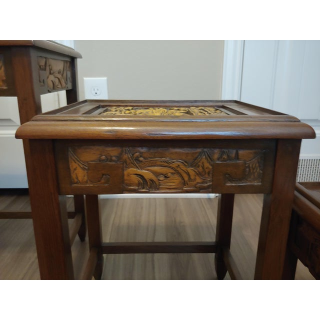 1960's Carved Asian Nesting Tables - Set of 4 For Sale In Houston - Image 6 of 8