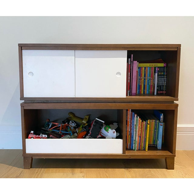 Contemporary Crate & Barrel Mid-Century Modern Style Walnut Toy Box and Book Shelf For Sale - Image 3 of 6