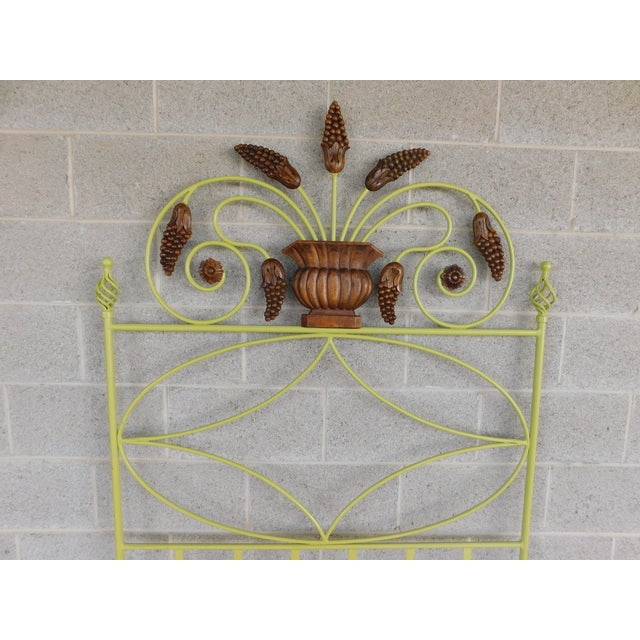 Country French Style Wrought Iron Paint Decorated Twin Headboard For Sale - Image 4 of 7