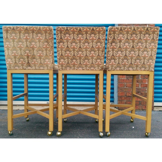 Velvet 1980s Bar Stools on Caster - Set of 3 - Image 8 of 11