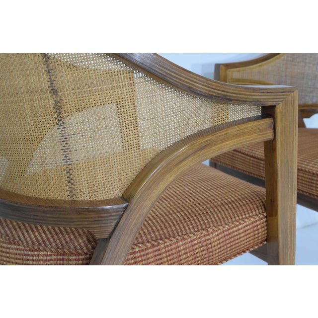 Dunbar Cane Back Lounge Chairs by Edward Wormley - a Pair For Sale - Image 10 of 11