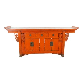 Vintage Chinese Altar Top Wooden Sideboard For Sale