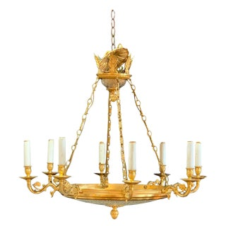 Neoclassical Style Gilt Bronze and Crystal Chandelier in Manner of Parzinger For Sale