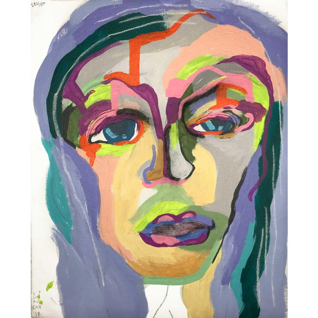 This abstract portrait is by contemporary artist Linda Ward of Detroit. This portrait is #282 out of a series of 500...
