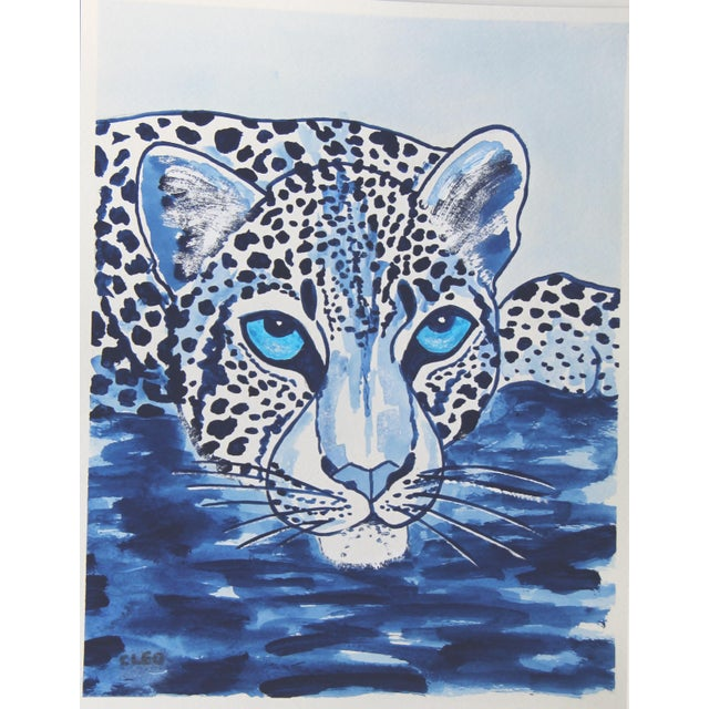 Ink Blue Indigo Blue Lion by Cleo Plowden For Sale - Image 8 of 10