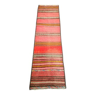 1950s Moroccan Red and Orange Wool Kilim Runner