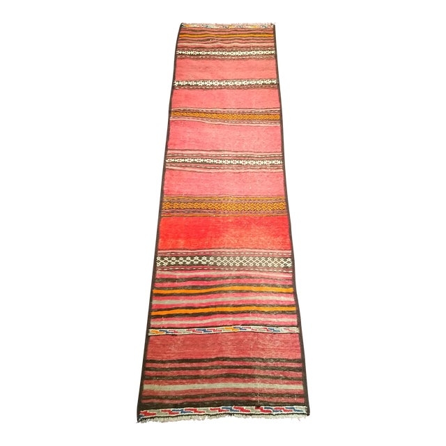 1950s Moroccan Red and Orange Wool Kilim Runner - Image 1 of 9