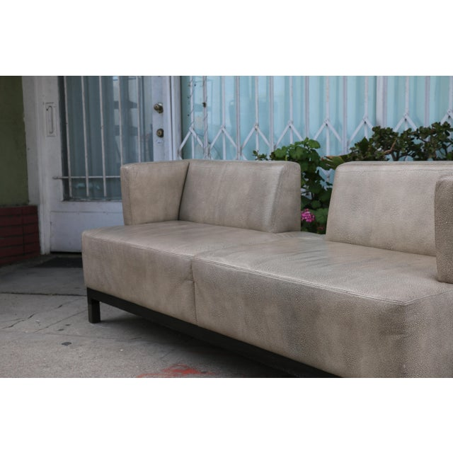 Tan Modern Contemporary Leather Love Seat For Sale - Image 8 of 11