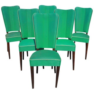 Set of Six French Art Deco Solid Mahogany Dining Chairs by Jules Leleu Style For Sale