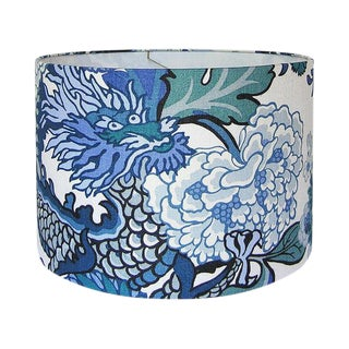 Large Drum Shade, Made With Blue Chiang Mai Dragon Fabric For Sale