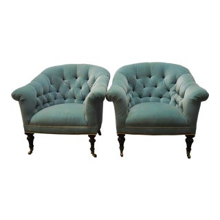 Pale Peacock Blue Tufted Armchairs- a Pair For Sale