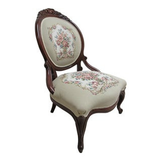 1960s Antique Victorian Rose Carved Needle Point Lounge Arm Chair For Sale