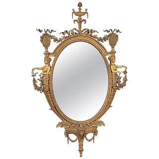 French Louis XVI Style Gilt Oval Mirror, 19th Century For Sale