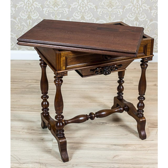 Mid 19th Century 19th Century Walnut Sewing Table or Card Table For Sale - Image 5 of 13