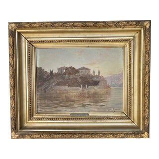19th Century French River Landscape Oil Painting by Charles Munnier, Framed For Sale