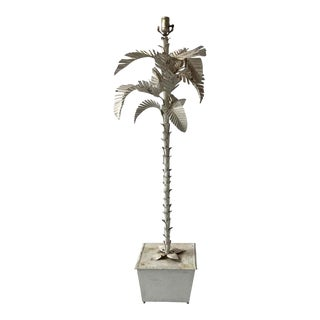 1960s Italian Tole Palm Tree Floor Lamp For Sale