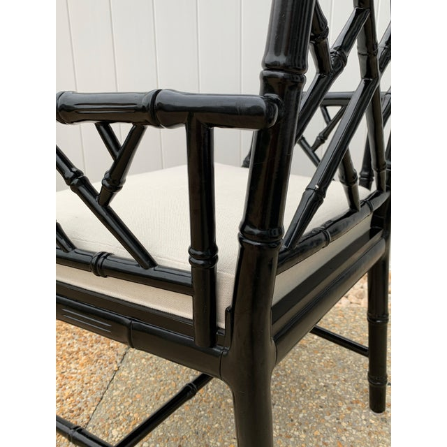 Jonathan Adler Black Lacquered Faux Bamboo Chippendale Chairs, Pair For Sale - Image 12 of 13