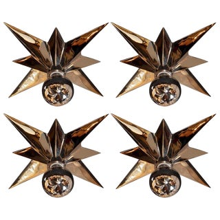 Mid-Century Modern Polished Nickel Star Flush Mounts - Set of 4 For Sale