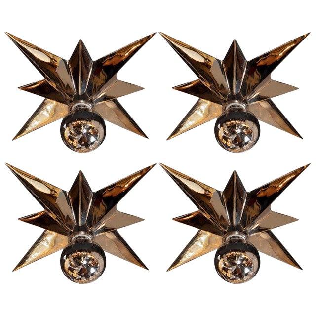 Mid-Century Modern Polished Nickel Star Flush Mounts - Set of 4 For Sale