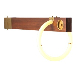 Angelo Brotto Neon Wall Light in Walnut & Brass For Sale