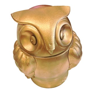 Gold Painted Owl Ice Bucket