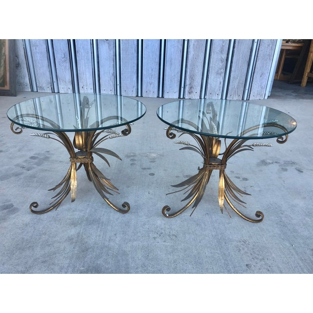 Midcentury Italian Gold Leaf Iron Side Tables With Glass tops.
