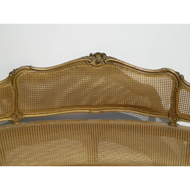 Gold Antique French Provincial Louis XVI Rococo Gold Cane Settee Loveseat For Sale - Image 8 of 13