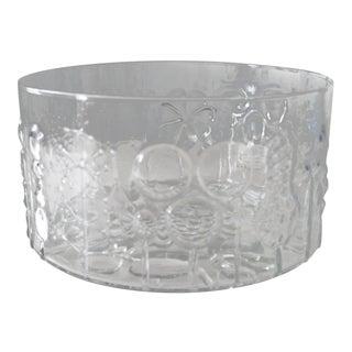 "Nuutajarvi Finland Flora Large Glass Bowl Vase Oiva Toikka 9.5"" For Sale"