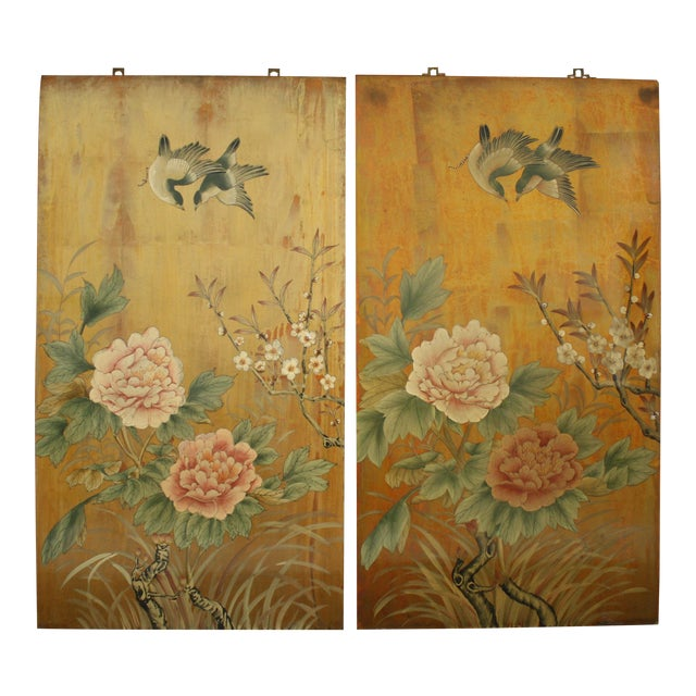 Vintage Decorative Chinese Chinoiserie Wall Panels, a Pair For Sale