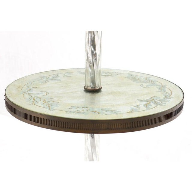 Twisted Glass Pole Reversed Painting Table Art Deco Floor Lamp For Sale - Image 10 of 11