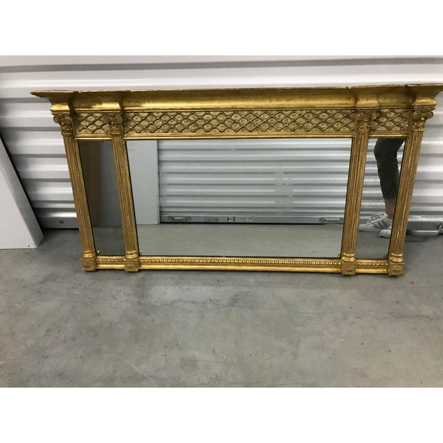 Traditional Antique Neoclassical Gilt Mantle Mirror For Sale - Image 3 of 9