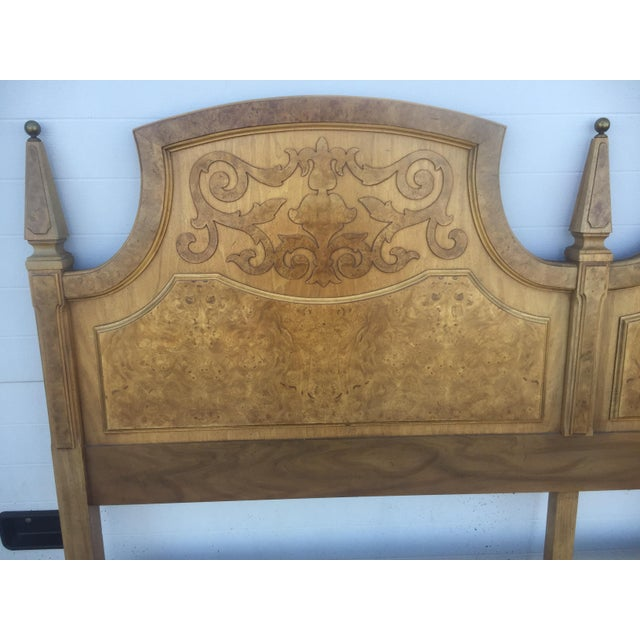 American Of Martinsville Mid Century Burl Wood King Size Headboard - Image 5 of 5
