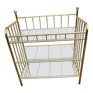 Brass Glass Etagere Bar Cart