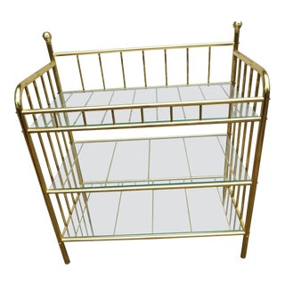 Milo Baughman Style Brass Glass Etagere Bar Cart For Sale