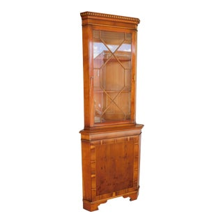 "English Georgian Style Yew Wood Corner Cabinet 71""h X 26""w For Sale"