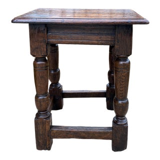 1930s Antique English Oak Joint Stool For Sale