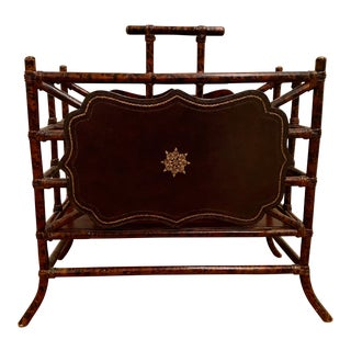 Maitland Smith Faux Bamboo & Leather Magazine Rack/Holder For Sale