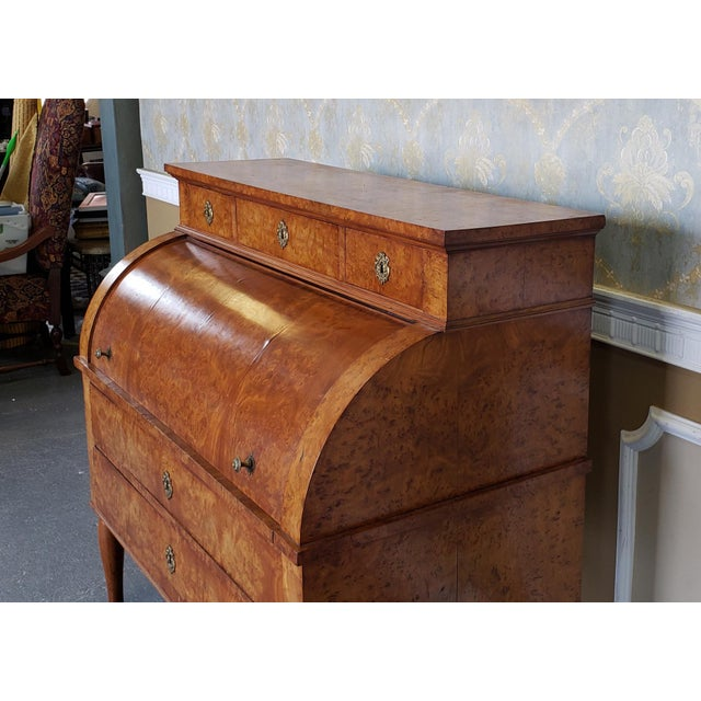 Restored Antique 19th Century Burled Elm Roll Top Cylinder Desk C1860 For Sale - Image 4 of 13