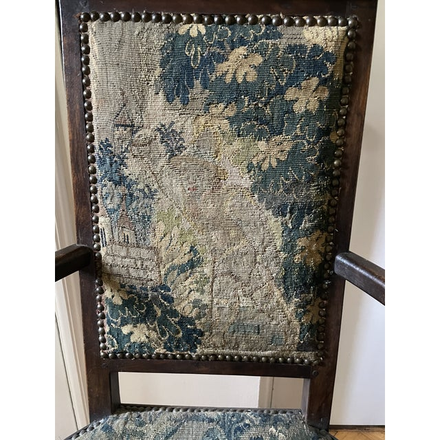 Charles II Revival 19th Century Walnut Arm Chairs With 17th Century Verdure Tapestry Upholstery - a Pair For Sale - Image 4 of 13