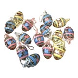 Image of Hand-Blown Glass Egg Shaped Ornaments, Set/15 For Sale